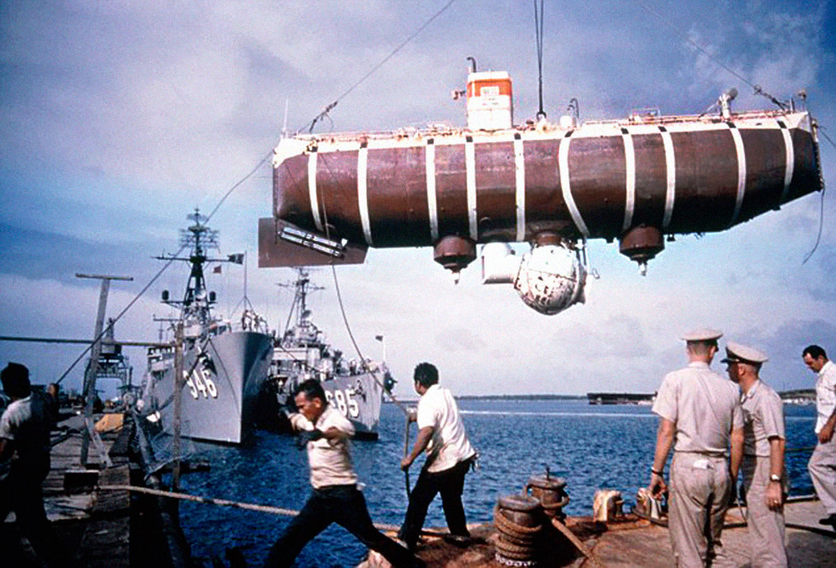 Bathyscaphe USS Trieste hanging in Apra Harbor, Guam.