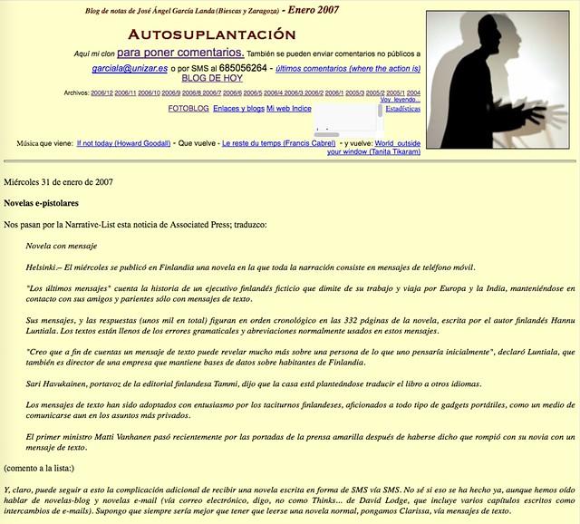 Autosuplantación: Blog de  notas de enero de 2007