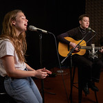Wed, 23/01/2019 - 2:20pm - Maggie Rogers and guitarist Elle Puckett perform in WFUV's Studio A and chat with DJ Carmel Holt, 1/23/19. Photo by Gus Philippas
