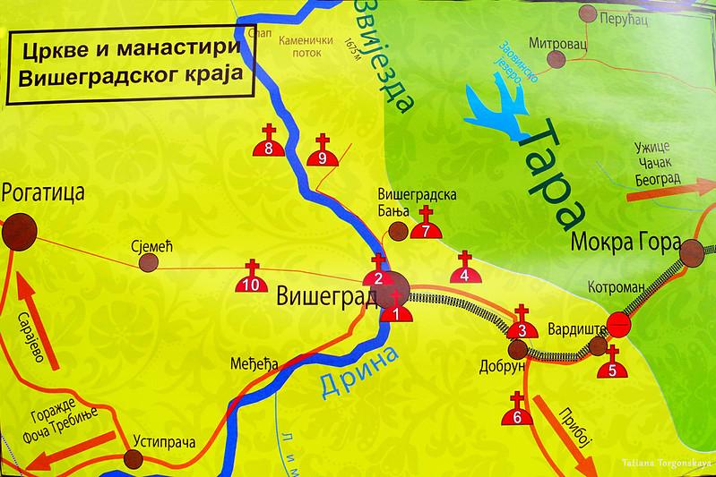 Карта с религиозными объектами в Вишеграде и его окрестностях