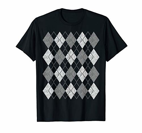 Retro Vintage Grey Argyle Plaid Pattern T-Shirt