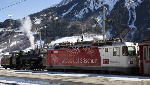 Rhätische Bahn RhB 107 & 633 Disentis-Mustér 17 februari 2019