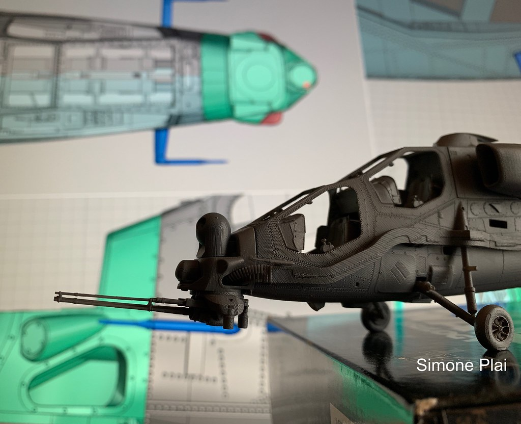 Wip AH-129D Mangusta 1/48. Installed 2 pitot tubes, snout with sensors, TM-197B cannon