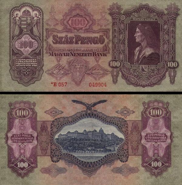 100 maďarských pengő Maďarsko 1930, P112
