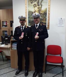 Il commissario Gianvito Gioia, a sinistra, e il sovrintendente capo, Giuseppe Maino