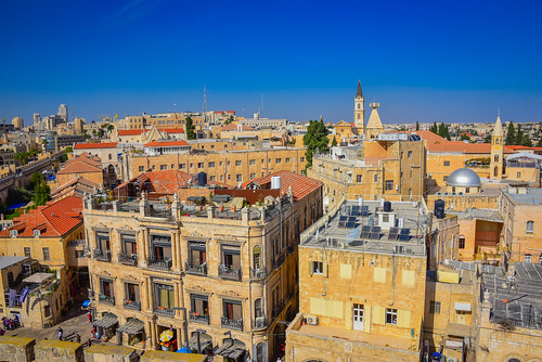 christian quarter viewed from tower david old city jerusalem israel latin jerusalemdistrict il jlm middleeast middle east altstadt historic ancient יְרוּשָׁלַיִם הַר צִיּוֹן جبل صهيون aerial rooftops rooftop roofs hotel