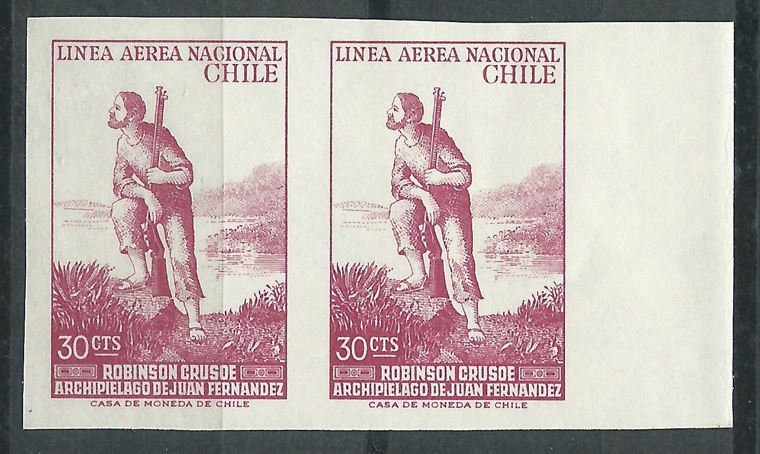 Chile - imperforate proof pair on card stock of Scott #349 (1965)