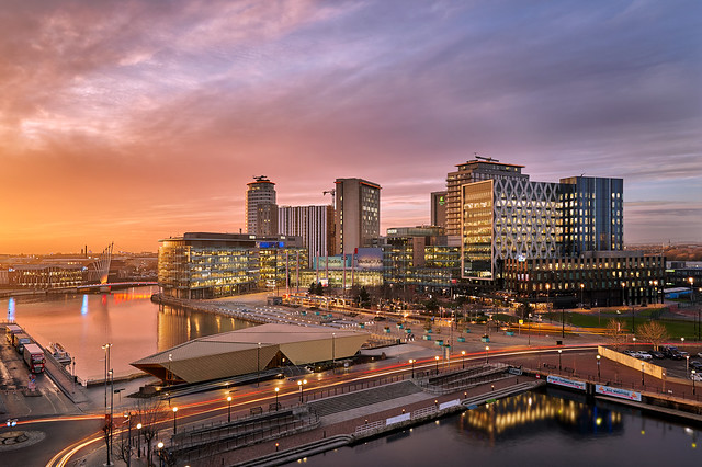Media city in Salford Quays at sunset
