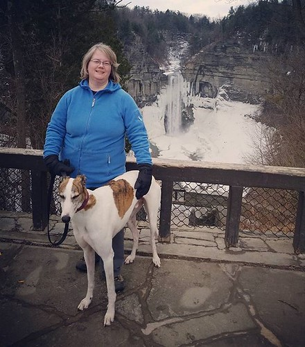 The Wife and the Dee-oh-gee, Taughannock Falls #Cane #dogsofinstagram #greyhound #greyhoundsofinstagram #taughannockfalls #fingerlakes