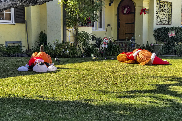 Christmas decorations deflated