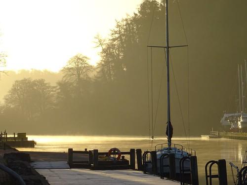 mooring stage dock frost boat water mist rowing tree sky sun sunlight sunrise golden glorious home reach river dart totnes devon uk silhouette