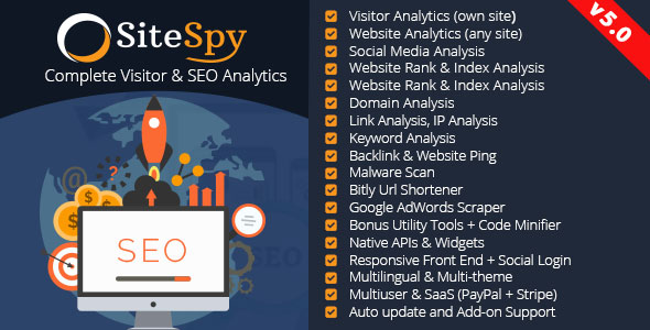 SiteSpy v5.0 - Complete Visitor & SEO Analytics