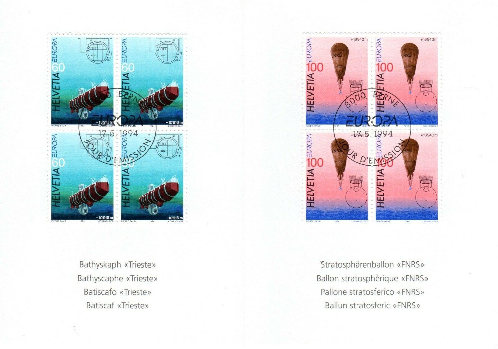 Switzerland - Scott #946-947 (1994) Europa folder