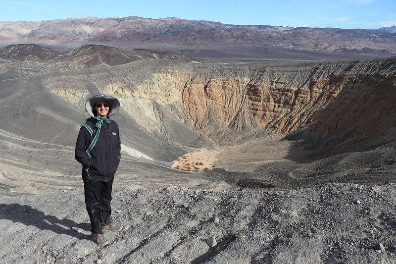 Vicki poses on the rim of Ubehebe Crater