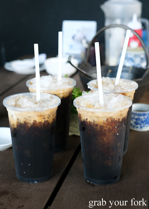Thai sock coffee with ice at Super Dim Sum in Phuket Thailand