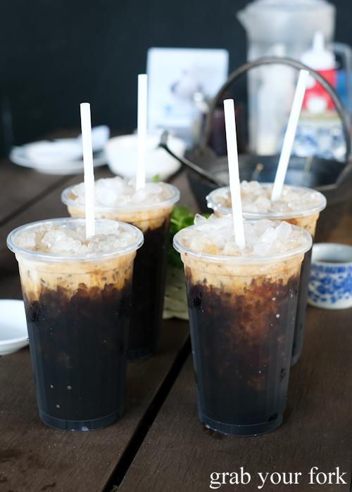 Thai sock coffee with ice at Super Dim Sum in Phuket Thailand
