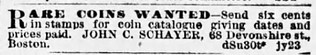 John Schayer Boston Globe, Sun, 27 July, 1884, p. 15