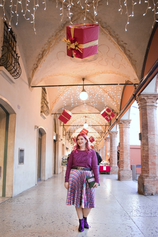 Outfit plus size, curvy, glitter, lamè e viola per Capodanno (2)