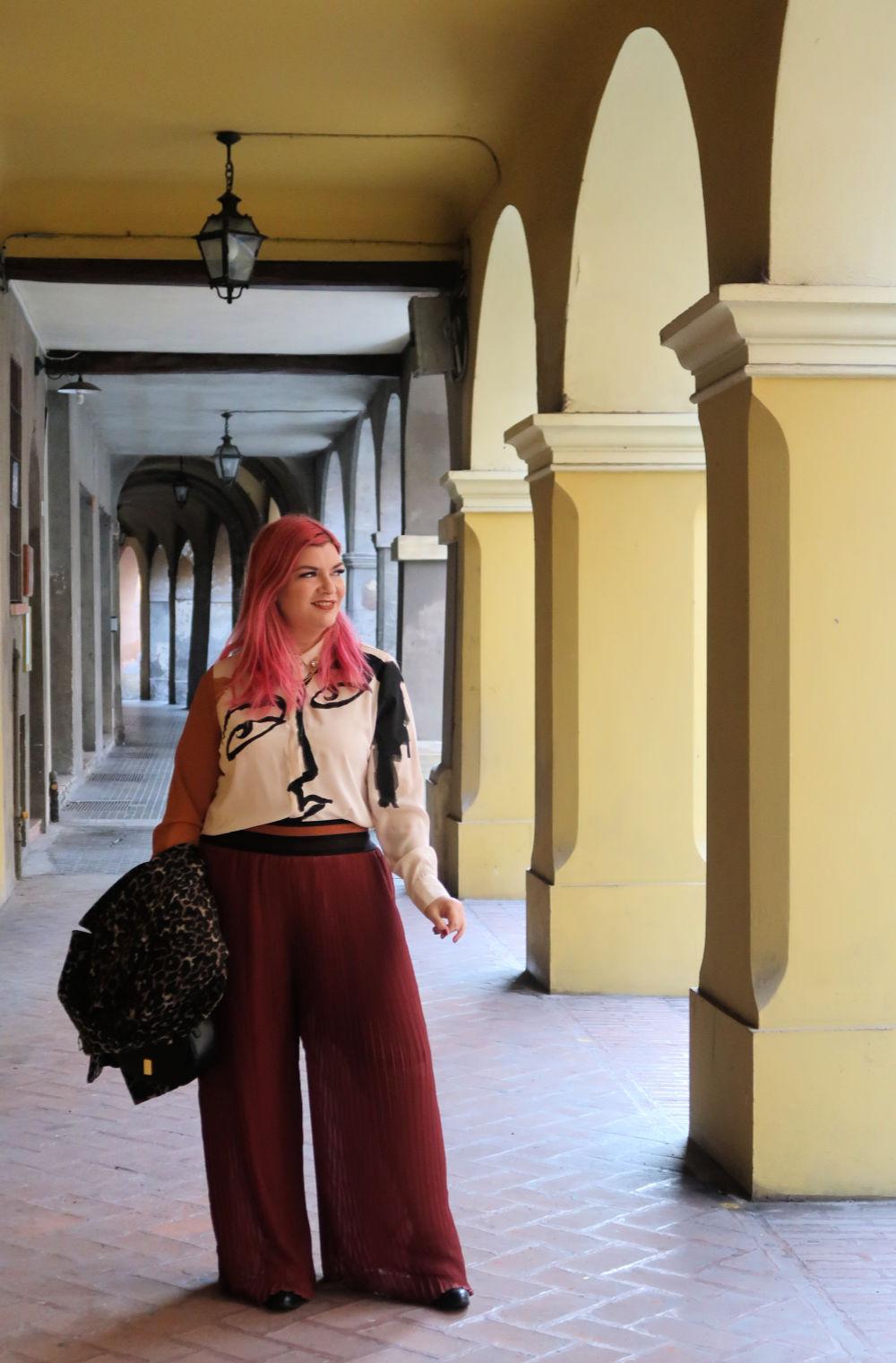 outfit plus size, curvy, panta palazzo e cappotto leopardato (11)
