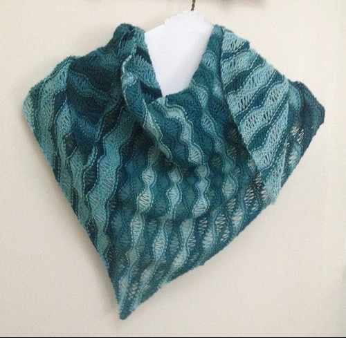 DonaJB knit Marron by Madeline Windsor with the SweetGeorgia Party of Five Kit that she won in the Spring Shawl 2017 KAL!