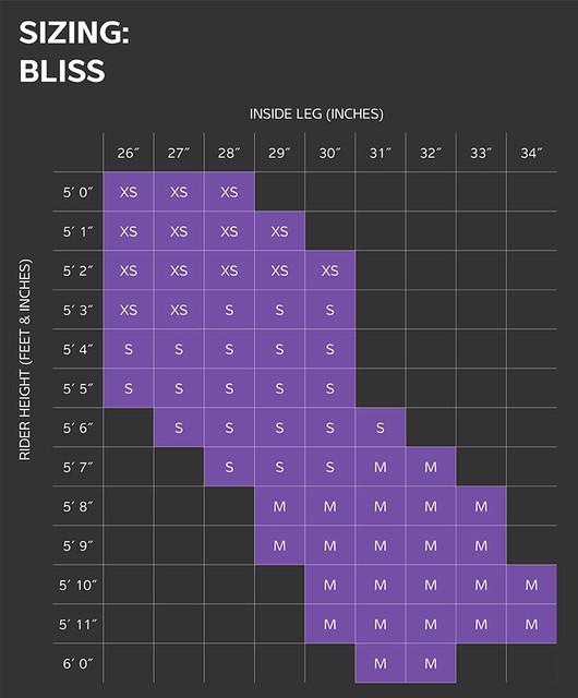 Liv Bliss Size Chart