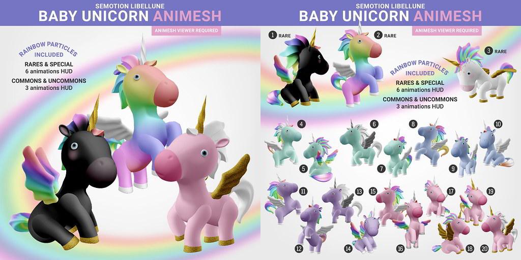 SEmotion x Libellune Rainbow Baby Unicorn Gacha Set @ Arcade