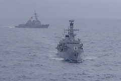 USS McCampbell (DDG 85) and HMS Argyll (F231) maneuver during a divisional tactics exercise in the South China Sea, Jan. 15. (U.S. Navy/MC2 John Harris)