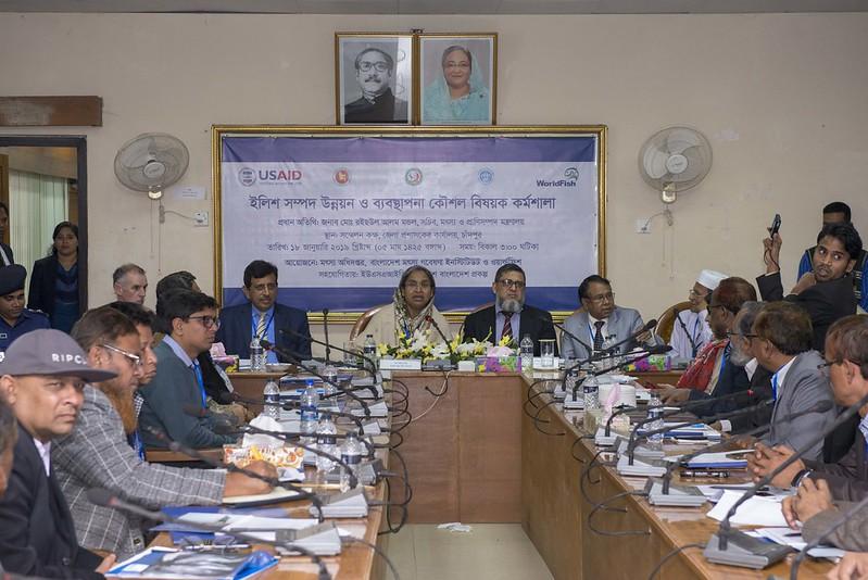 Minister Dipu Moni (center) speaking at an ECOFISH-BD project workshop. Photo by Balaram Mahalder.