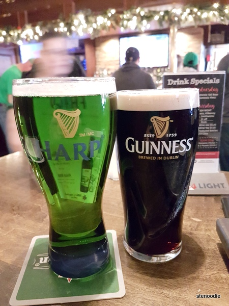 Green Harp beer and Guinness
