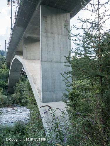 RHE169 Rhaetian Railway Railroad Bridge over the Hinterrhein River, Sils im Domleschg - Thusis, Canton of Graubünden, Switzerland