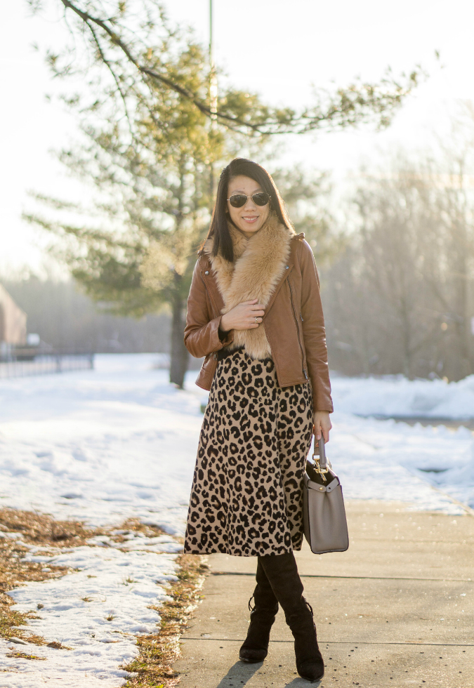 faux fur scarf, Banana Republic classic leather moto jacket, black cashmere sweater, Fendi peekaboo, Ann Taylor spotted full sweater skirt, Miu Miu suede pointed toe over the knee boots