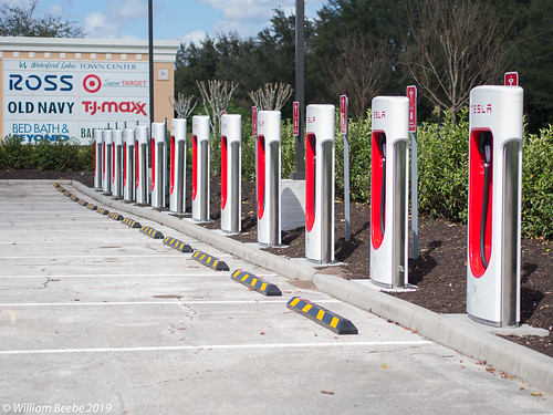 A row of Tesla Chargers