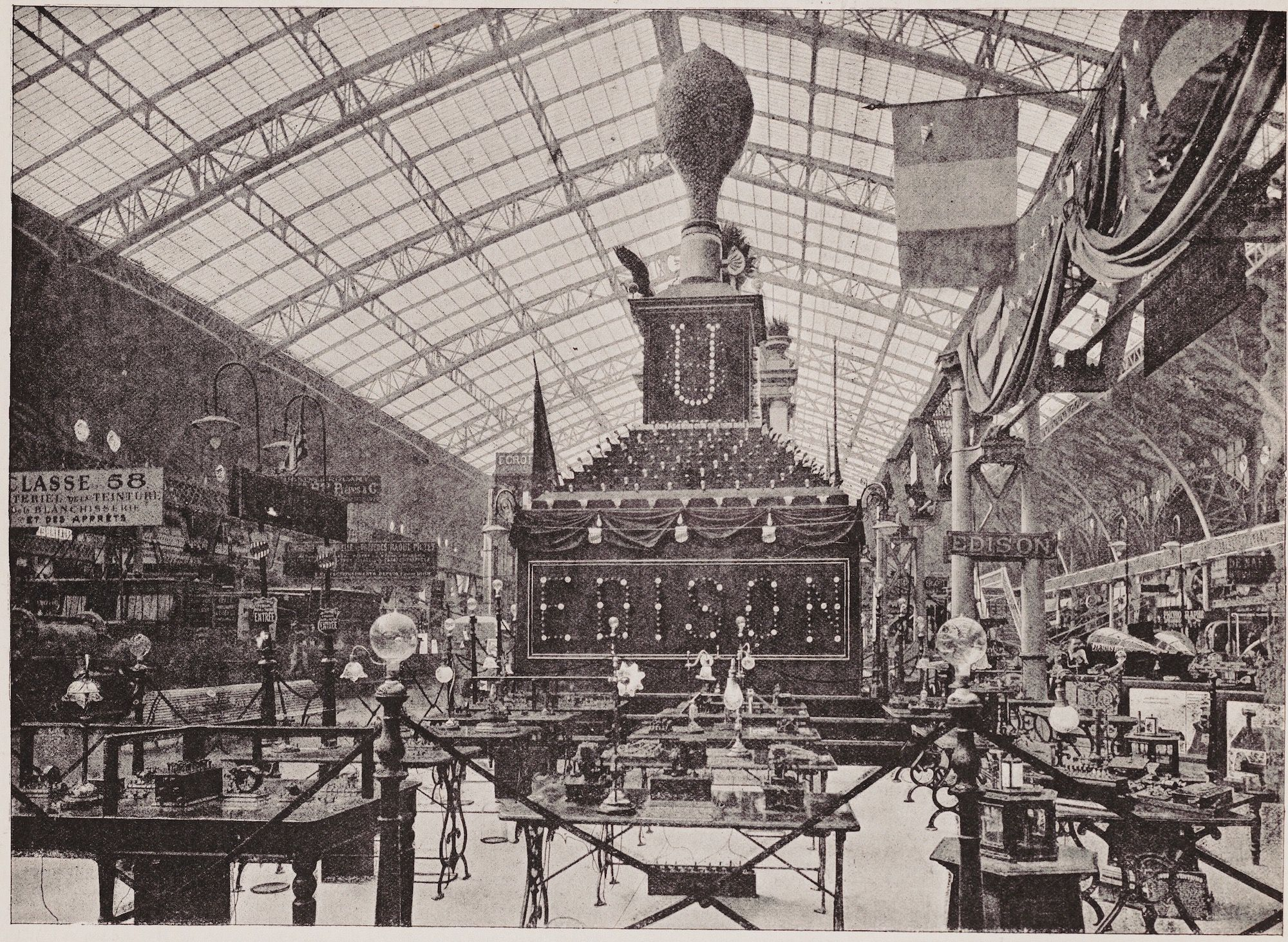 Thomas Edison's displays and demonstration area at the Exposition Universelle world's fair held in Paris from May 6 to October 31, 1889.