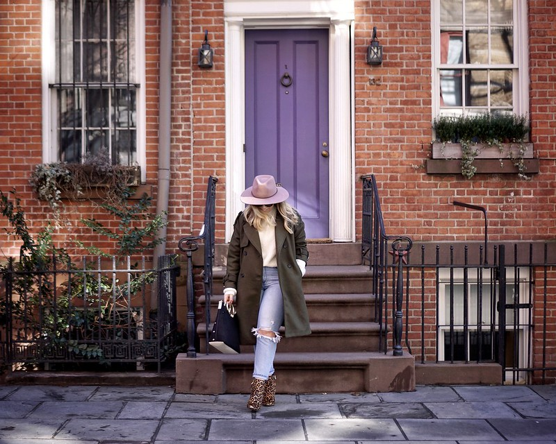 Casual Outfit Pink Hat Green Coat Ripped Jeans Leopard Booties West Village NYC Purple Front Door