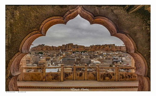 Jaisalmer Fort seen from the Haveli Window, Rajasthan, India.