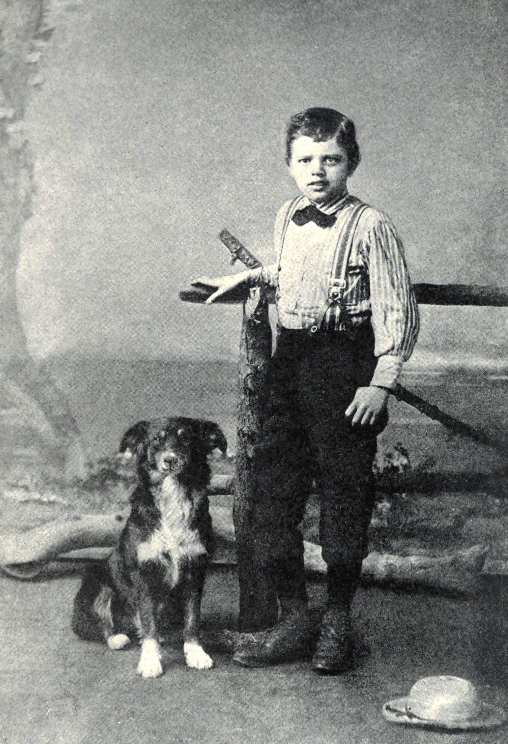 Jack London and his dog Rollo. Nine years old, 1885.