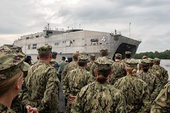Pacific Partnership 2019 personnel stand at parade rest as USNS Fall River (T-EPF 4) arrives at the Port of Kuching, March 28. (U.S. Navy/MC2 Nicholas Burgains)