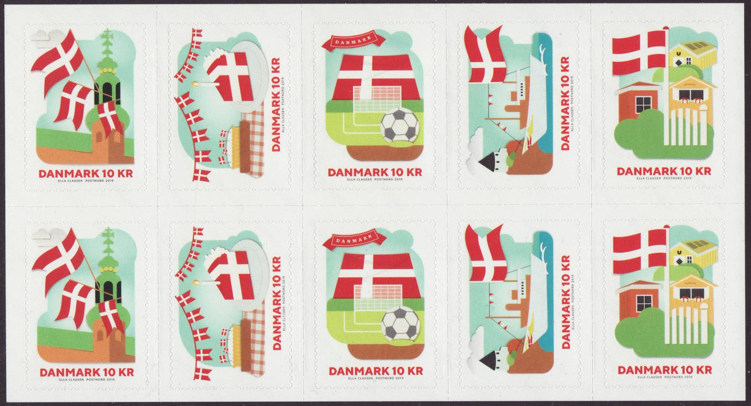 Denmark - National Flag (January 2, 2019) booklet pane of 10