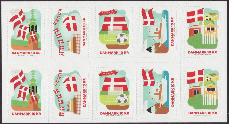 Denmark - National Flag (January 2, 2019) booklet pane of 10