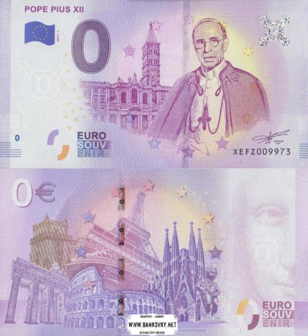 0 euro 2019 Vatikán - pápež Pius XII