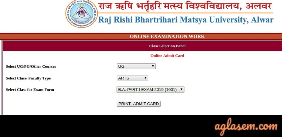 Matsya University Admit Card