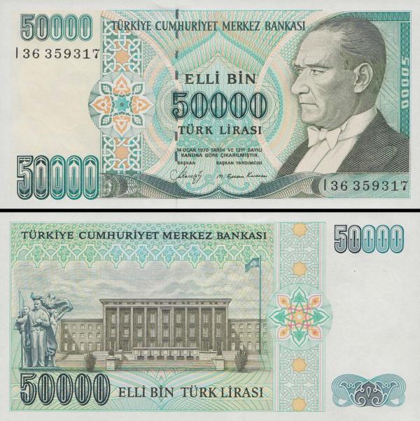 50 000 Lír Turecko 1970 (1984-2002), P203a