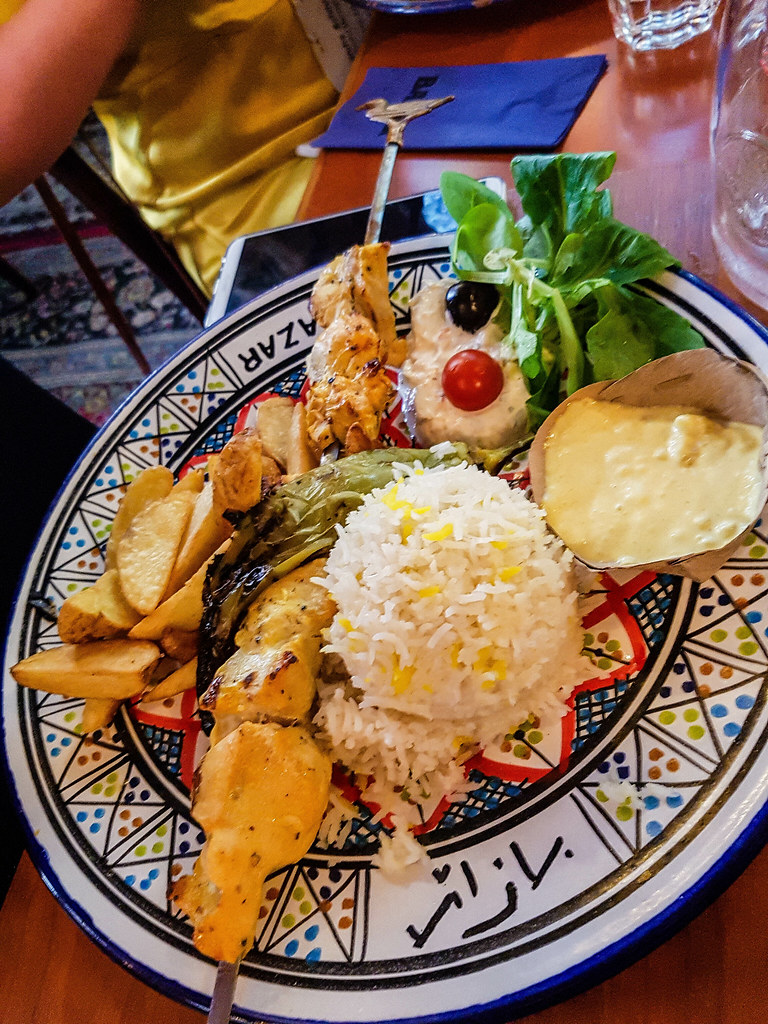 A plate of different Turkish foods