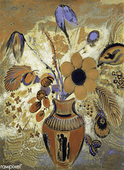 Etruscan Vase with Flowers by Odilon Redon