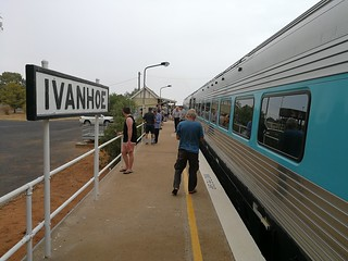 Broken Hill Explorer train stopped in light rain at Ivanhoe | by Michael Mullins