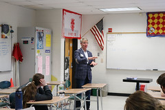 Rep. Ackert speaks with a civics class at Coventry High School