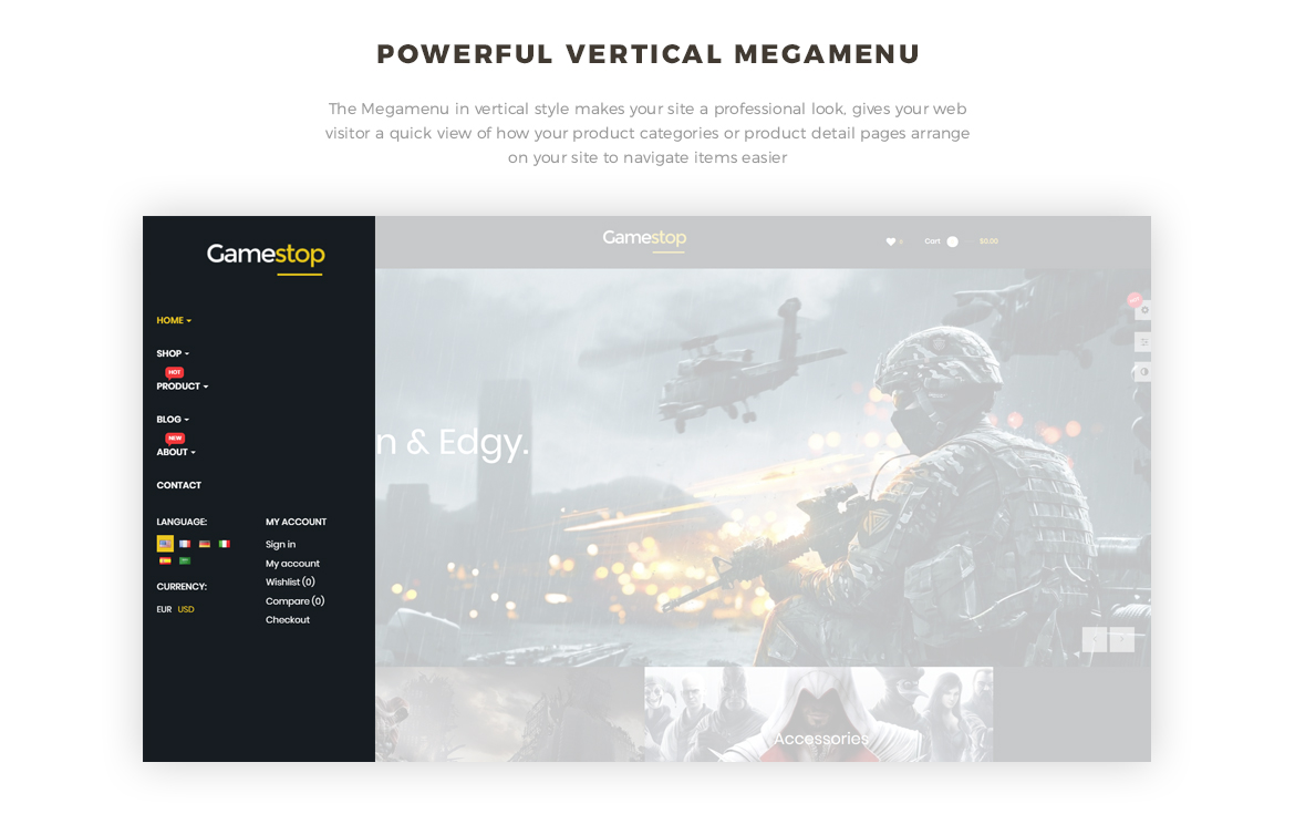 powerful vertical mega menu- Leo Gamestop - Games Store Prestashop theme