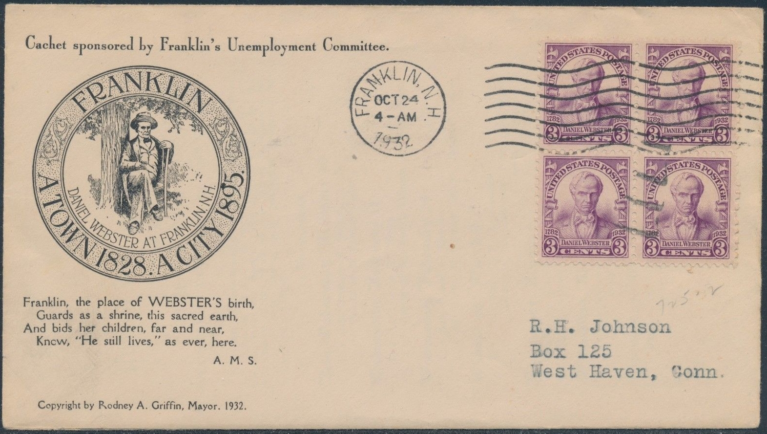 United States - Scott #725 (1932) first day cover postmarked in Franklin, New Hampshire