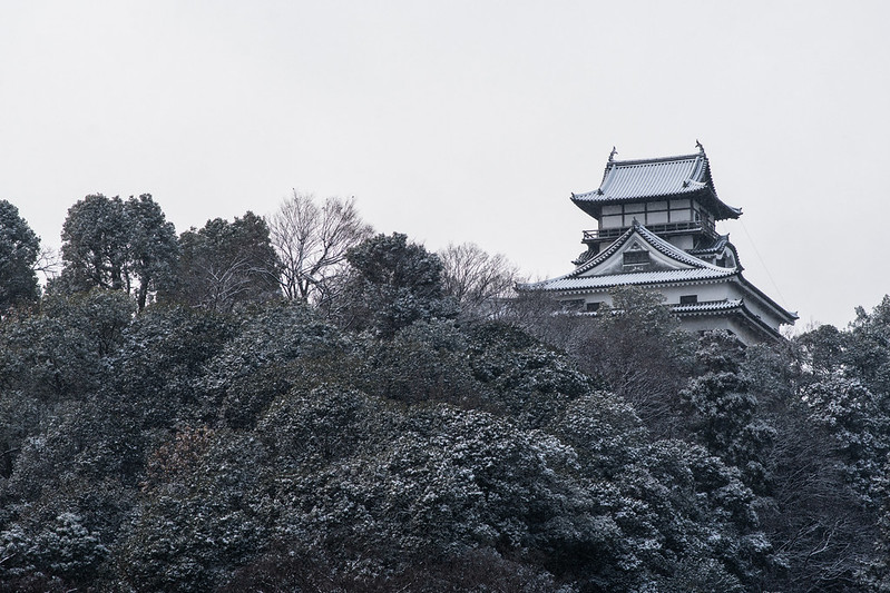 雪が積もる犬山城