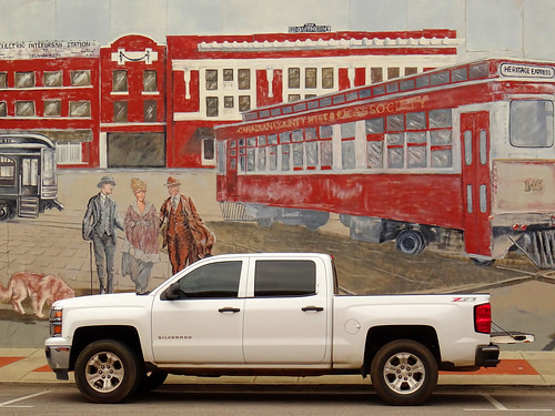 Pickup in front of a Mural